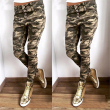 Women Army Green Pencil Pants Sexy Bodycon Casual Long 2019 Newest Chic Camouflage Autumn Trousers