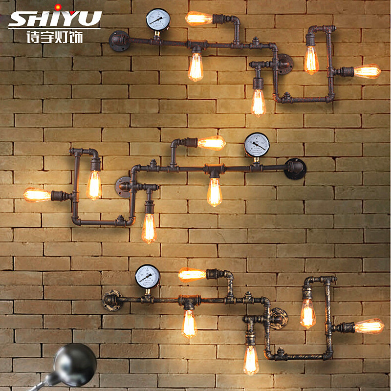 Steam punk Loft Industrial iron rust Water pipe retro wall lamp sconce wall lights E27 LED for living room bedroom bar cafe