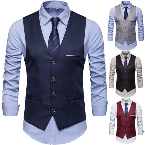 New Fashion Men's Formal Casual Dress Vest Tie Suit Slim Tuxedo Waistcoat Coat