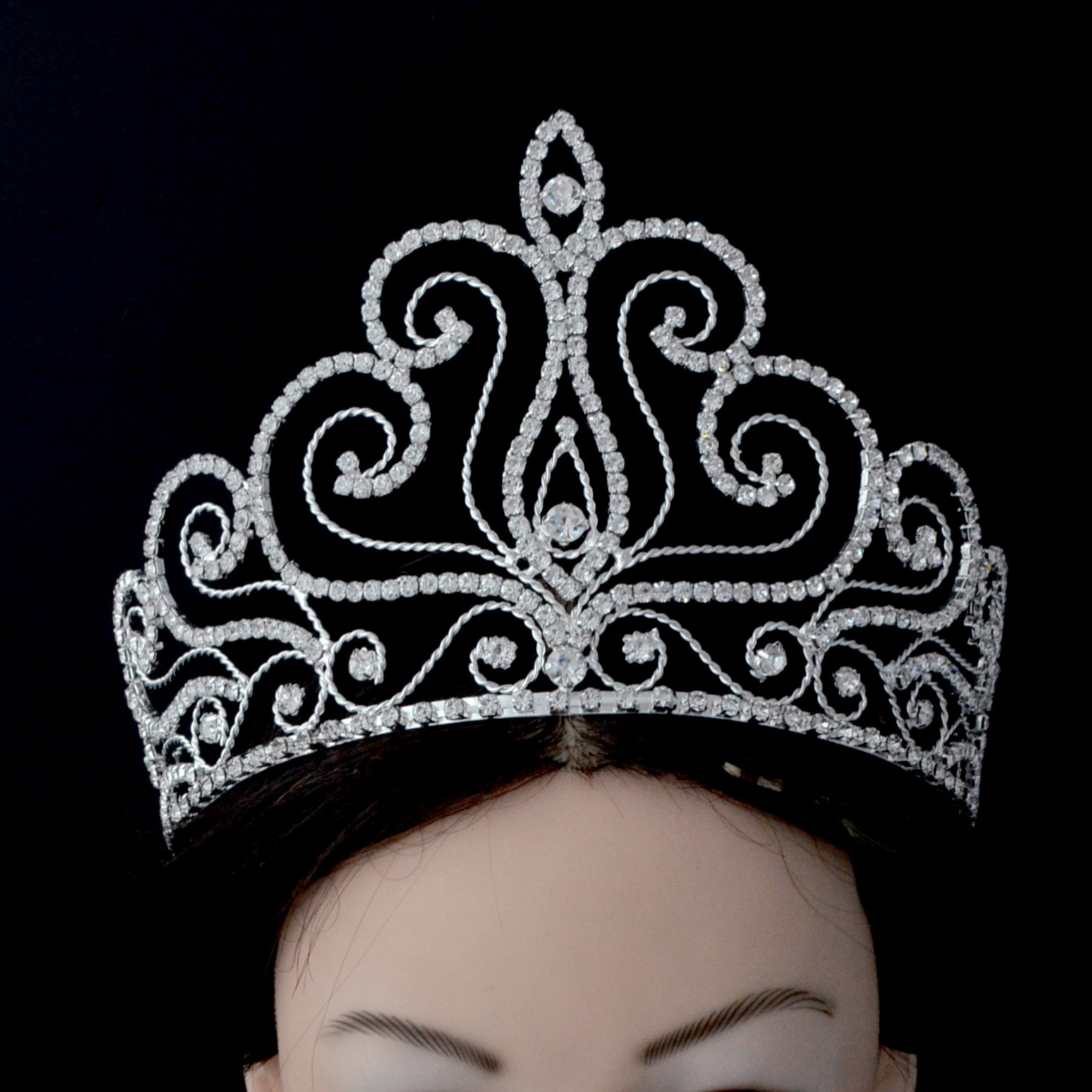 Fashion Rhinestone Tiaras Pageant Crowns Full Round Hairwear Jewelry Hair Accessories Prom For Beauty Women Girl Mo197