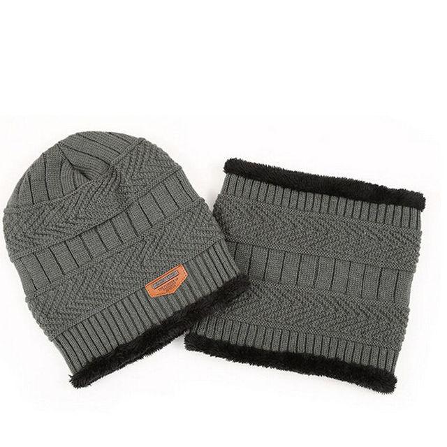 78fb3ddcb3802 Men Women Winter Warm Crochet Knit Baggy Beanie Wool Skull Hat Ski Cap  Scarf Set