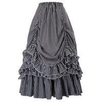 Retro Vintage Gothic Black & White Stripes Bustle Skirt pastel goth steampunk club party rockabilly skirts womens maxi skirt