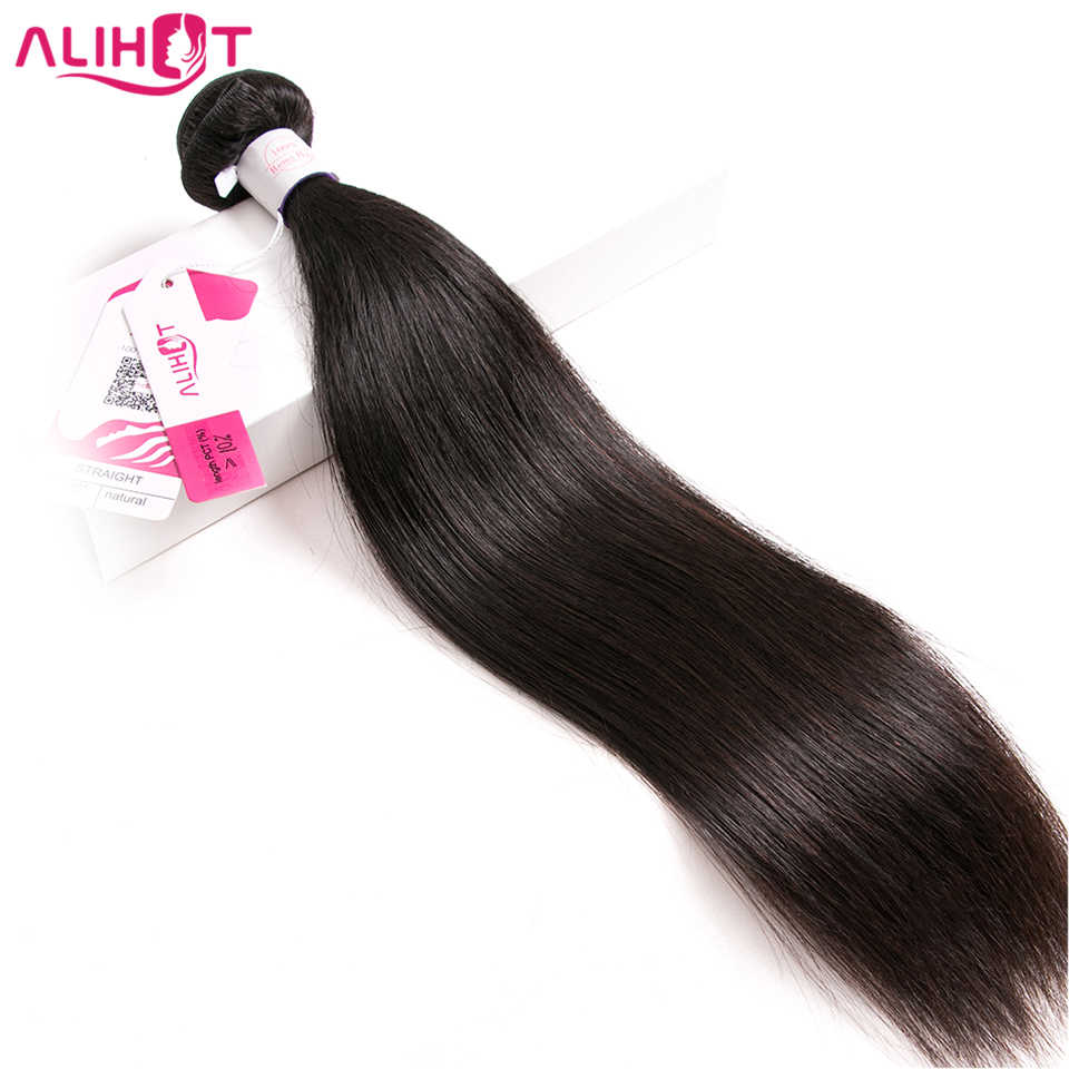 Ali Hot Brazilian Straight Human Hair 1/3/4 Piece Hair Weave Bundles 8-32inch Natural Color Free Shipping Non-Remy Hair
