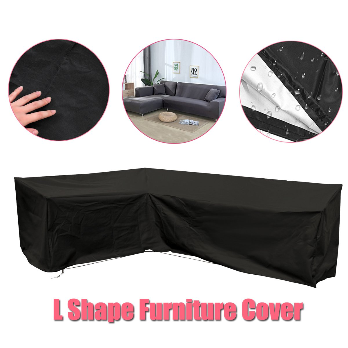 Housse de canapé d'angle en forme de L extérieure 3 M x 3 M balcon Patio housse de mobilier de jardin étanche à la poussière tout usage Protection
