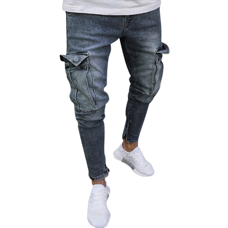 NEW-Men'S Jeans Trend Knee Hole Zipper Feet Trousers Ripped Pocket Jeans Hole Men Jeans Streetwear Jeans