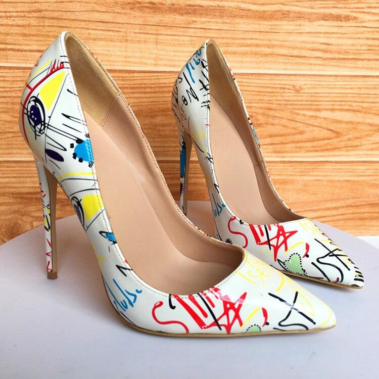 Chaussures red Sexy Escarpins Femmes Black Graffiti Mode Size42 Hauts Dames De Robe Talons Récent white blue Soirée Couleurs Sur Slip Mélangées Spring Femme Bout Pointu HnCgWq
