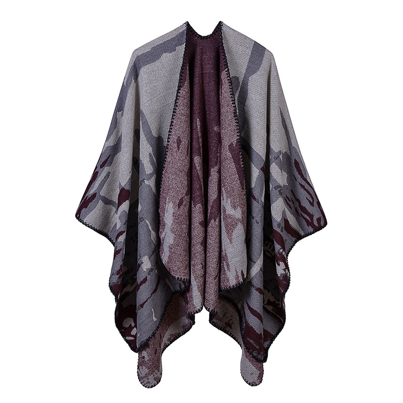 9fe835a83abb Detail Feedback Questions about Women Shawl Poncho Faux Cashmere Colorblock  Camouflage Drape Long Oversized Warm Elegant Knitted Cape echarpe femme  hiver ...
