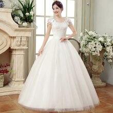 0e7ad2961b9 Бальное платье Свадебные платья 2018 плюс размеры дешевые белые кружево  Платье Невесты Простой Тюль на спине vestido de noiva