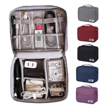 Travel Cable Bag Portable Digital USB Gadget Electronic Accessories Organizer Storage Bags Zipper Polyester Case