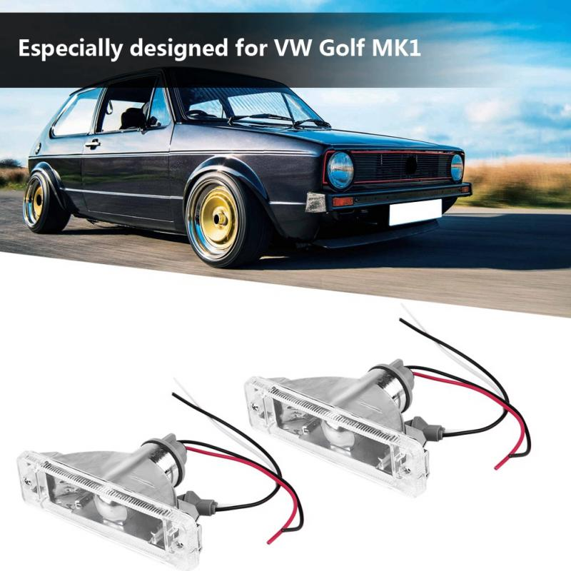 2 Pcs Car Front Bumper Turn Signal Light Cover Lamp Shell For VW Golf MK1 171953055 Car Light Shell Headlight Dust Cover