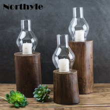 Dream House DH traditional candlestick glass candle holder wooden base lantern party decoration tealight stand