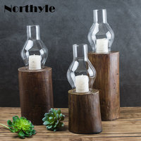Northyle traditional candlestick glass candle holder wooden base candle lantern party decoration tealight candle stand