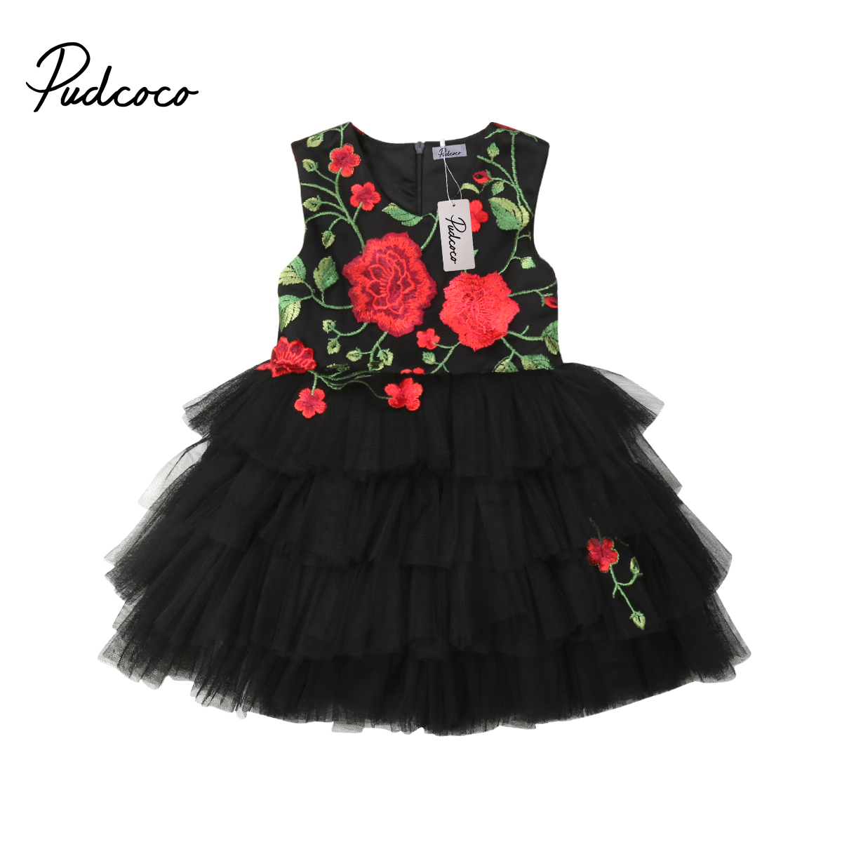 Pudcoco Flower Girls Princess Kids Baby Party Pageant Bridesmaid Formal Tulle Dress