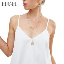 HYH HAOYIHUI  2019 Summer New Hot Women Shirt Simple Commuter V-neck Sexy Solid Color Loose Hem Strap