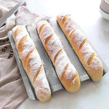 Non-Stick Perforated French Bread Mold Pan Stainless Steel Baguette Stick Mold Wave Baker Baking Tools