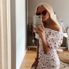 Cute Off Shoulder Red Heart Print Dress Women Bodycon Party Mini Club Dress Female Puff Sleeve Sexy Dress Vestidos embroidered puff sleeve bodycon mini dress