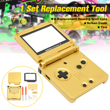 1 Set Golden For Gameboy Advance SP Replacement Case Full Housing Shell +Screen Cover+Tool For Nintendo For GBA SP