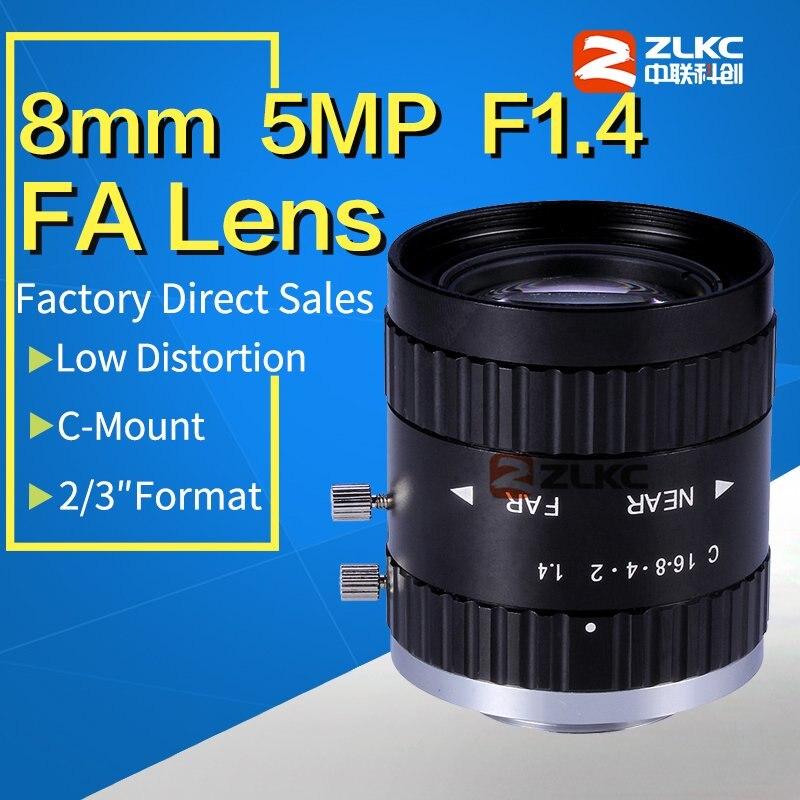 5 Mega Pixel C Mount 8mm 2 3 F1 4 FA Machine Vision fixed focal length