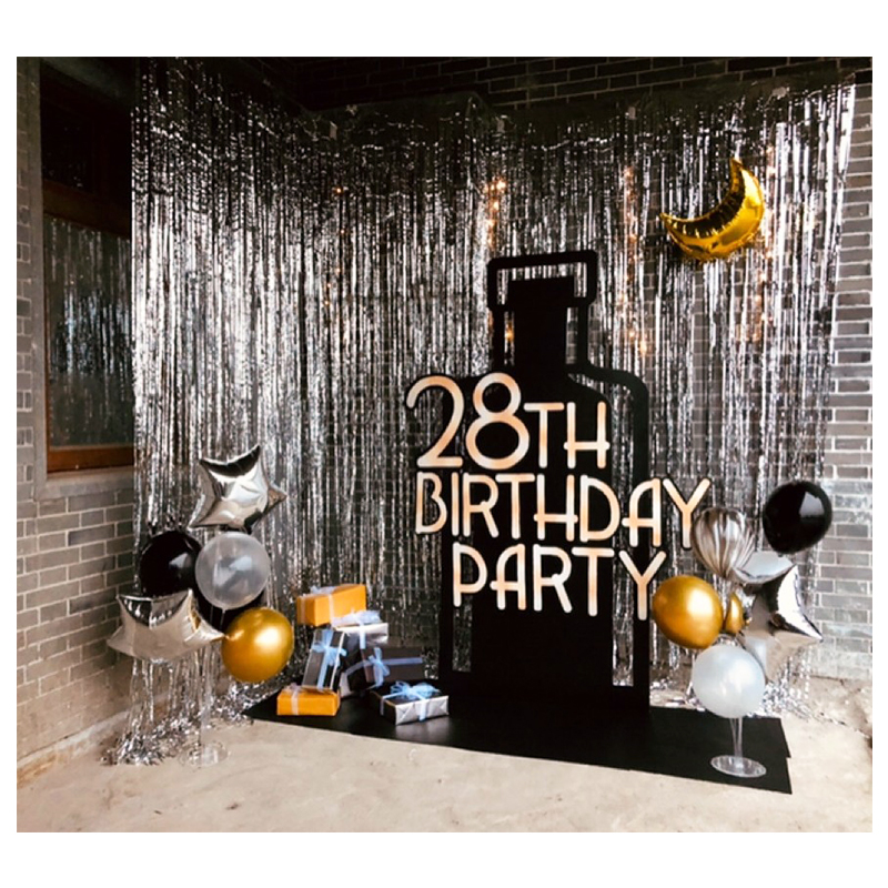 Party Backdrop Wedding Backdrop 2M 3M Gold Tinsel Curtain Wedding Decoration Photo Curtains Birthday Decoration Party Curtains-in Party Backdrops from Home & Garden
