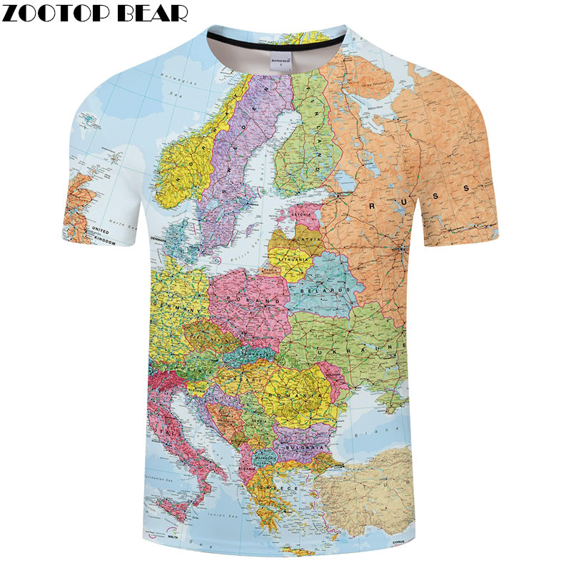 Europe Map t shirt Travel tshirt Men Vacation t-shirt 3D Tops Tees Funny Short Sleeve Shirts 6XL Streetwear Dropship ZOOTOPBEAR