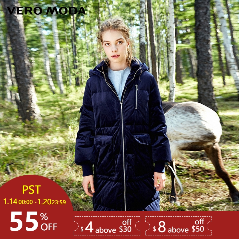 Vero Moda Medio di stile con cappuccio di velluto a doppia cerniera giù cappotto di inverno del rivestimento delle donne   317312531
