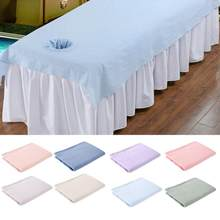 Massage Bed Cover Schoonheidssalon Massage Sheet Tattoo Make Body SPA Behandeling Ontspanning Laken Met Adem Gat 80*200 cm(China)