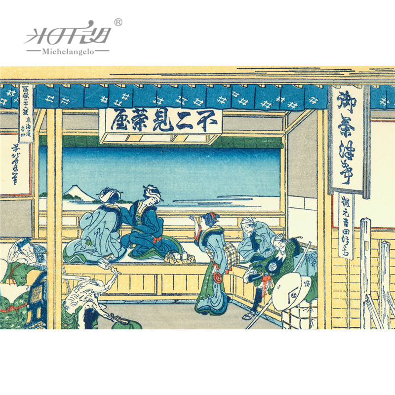 Michelangelo Wooden Jigsaw Puzzles Japanese Ukiyoe 36 Views of Mount Fuji Yoshida Tokaido Hokusai Educational Toy Painting Decor