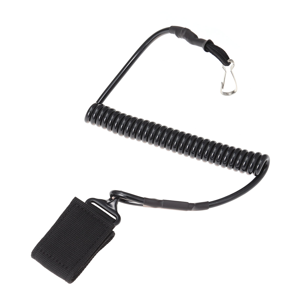 Outdoor Chain Spring Rope Chain Loss Prevention Curl Cord Key Chain (Black)