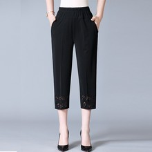 Middle Aged Women New Summer Thin Straight Capris Pants Casual Loose High Elastic Waist Calf-Length Plus Size XL-5XL