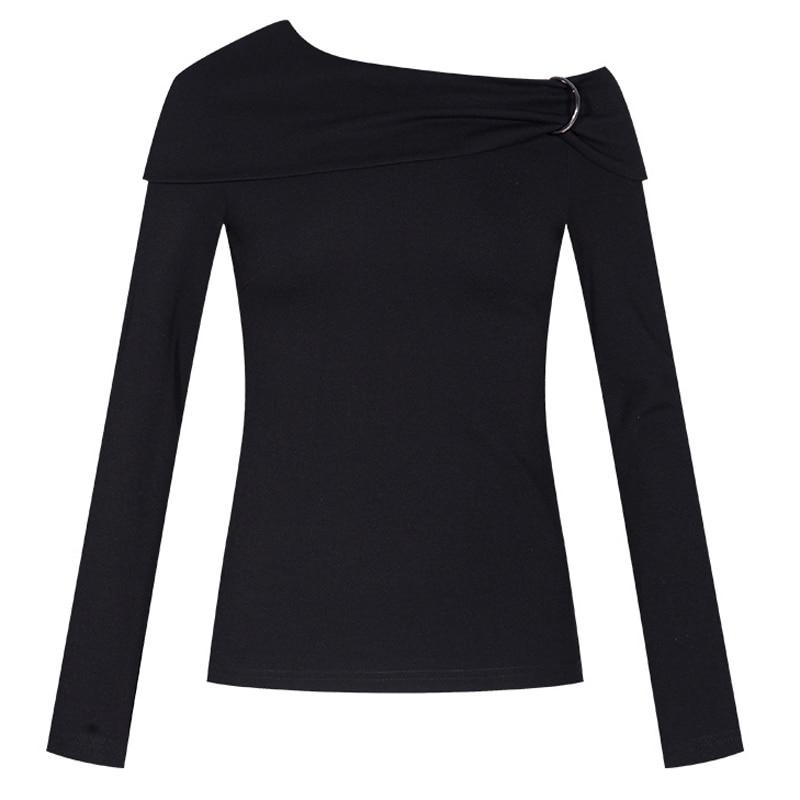 Mini Larga Camiseta De Mujeres Tops Hombro Irregular Las Manga Falda Traje Jersey Mujeres Negro Hebilla 2 Sexy Piezas aUqqzB