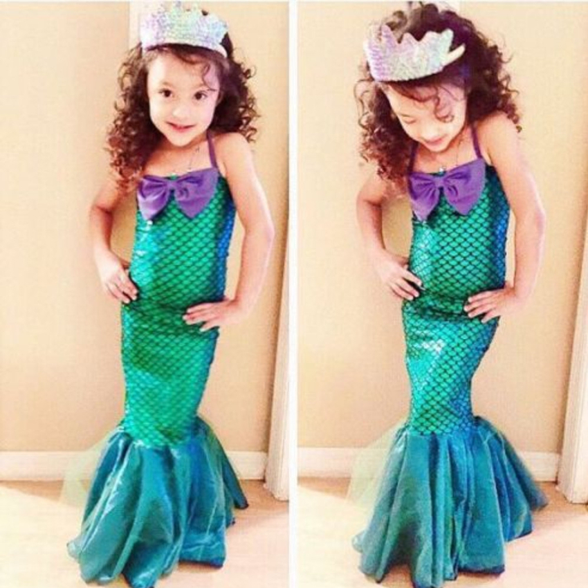 Girls The Little Mermaid Halloween Cosplay Dress Baby Ariel Party Christmas Costumes Baby Kids Fancy Princess Green Dress Up