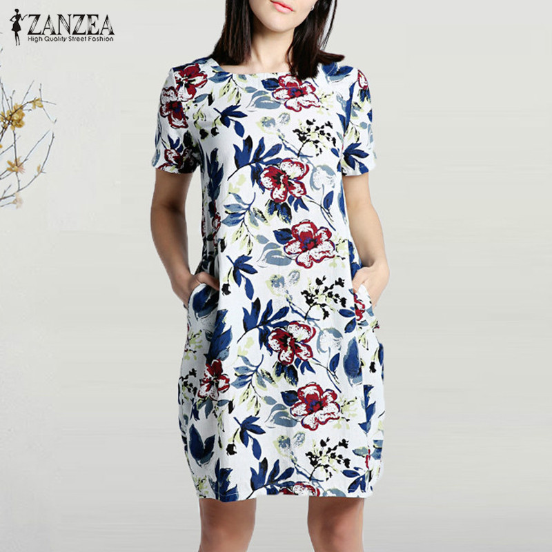 2020 ZANZEA Summer Floral Printed Party Dress Women Casual Short Sleeve Pockets Loose Sundress Vintage Cotton Linen Vestido Robe