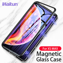 iHaitun Luxury Magnetic Glass Case For iPhone XS MAX XR X Cases Slim Magnet Flip Back Cover For iPhone X 10 7 8 Plus Phone Cases(China)
