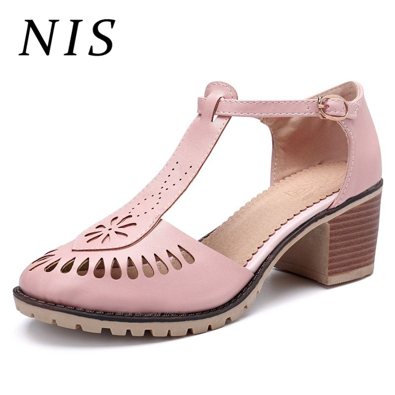 NIS Hollow Out Leather Women Pumps Shoes Woman Spring Summer Ankle Buckle Strap Ladies Shoes Chunky High Heels Pink/White/BlueNIS Hollow Out Leather Women Pumps Shoes Woman Spring Summer Ankle Buckle Strap Ladies Shoes Chunky High Heels Pink/White/Blue