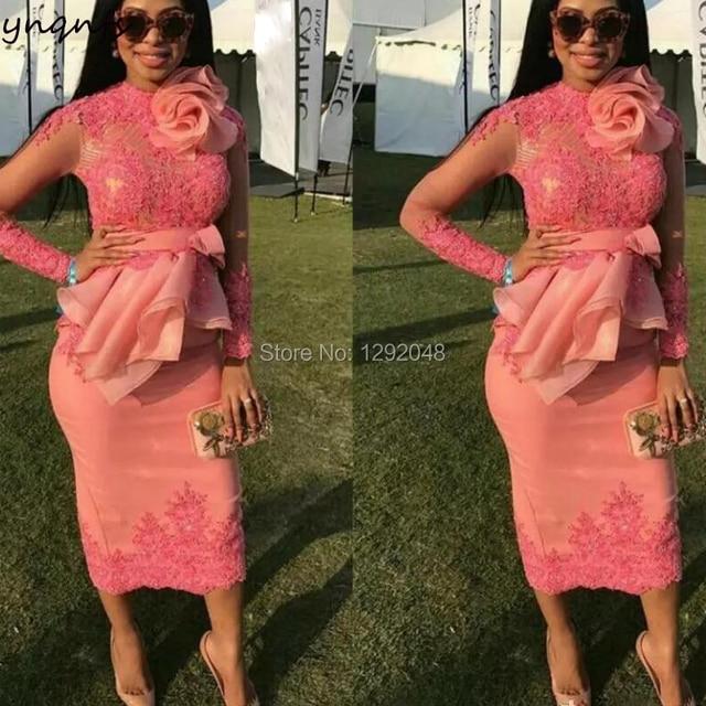YNQNFS MD176 Elegant Mother of the Bride/Groom Dresses High Neck Long Sleeve Robe Cocktail Formal Dress Coral 2019