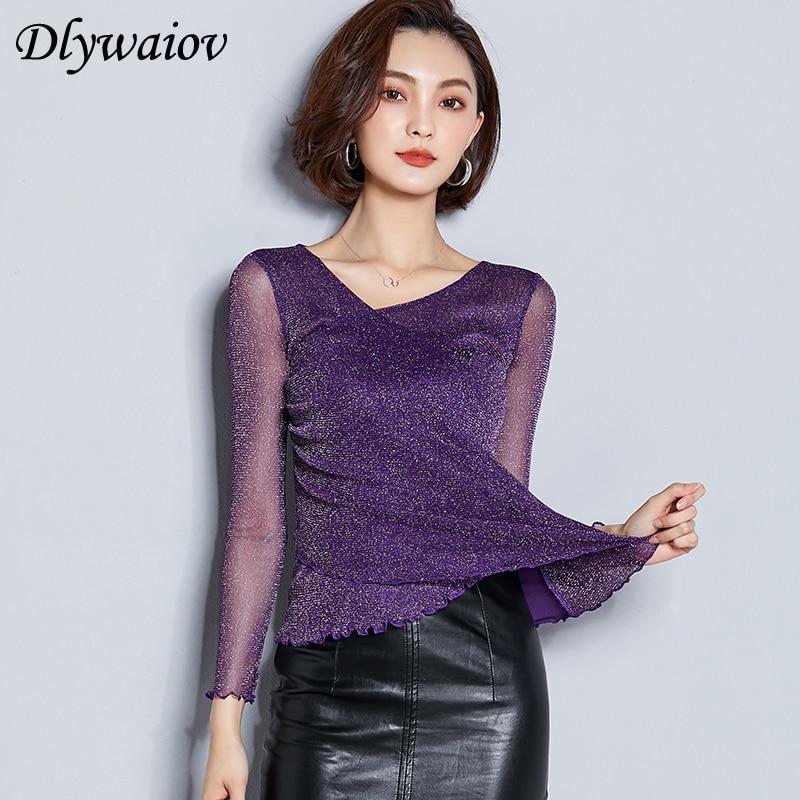 Mesh Blouses Women 2019 New Tops Autumn Fashion Female Purple Korean Elegant V Neck Lurex Solid Long Sleeve Bottoming Pink Shirt