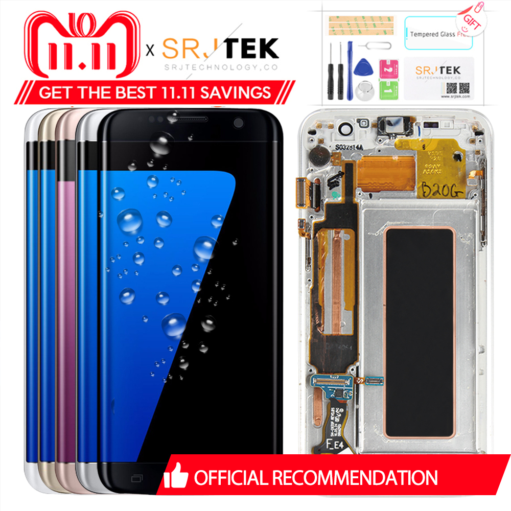 5,5 ORIGINAL AMOLED S7 Pantalla de borde para SAMSUNG Galaxy S7 Pantalla de pantalla táctil con el marco para SASMSUNG S7 borde LCD G935F