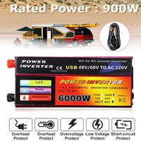 Kroak DC 12V/24V/48V/60V to AC 110V/220V 6000W Power Inverter Modified Sine Wave Convert Aluminum Alloy