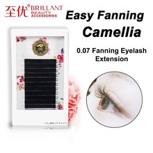 BRILLANT Camellia Auto Bloom Easy Fan Pick Volume Mega Grafting Eyelashes 3D6D9D Double Extensions Planting Thick 0.07