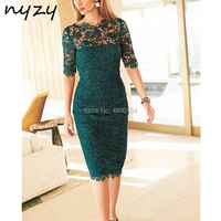 Green 2019 Mother Of The Bride Dresses Sheath Half Sleeve Lace Knee Length Short Wedding Party Dress Mother Outfits NYZY M43