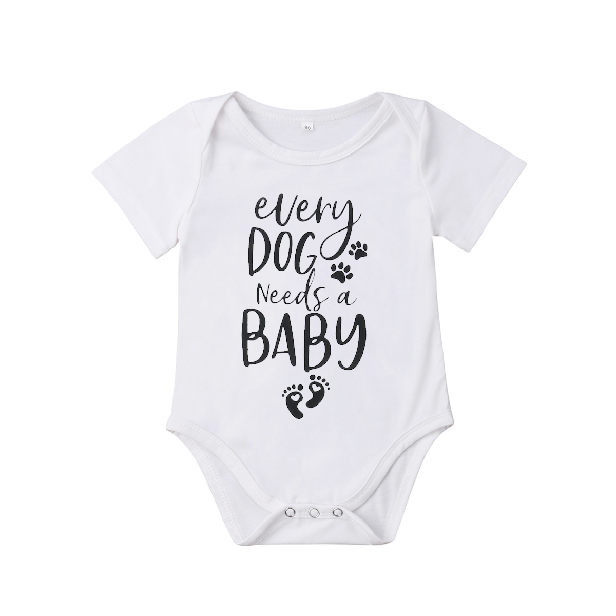 2019 Brand New 0-18M Summer Causal Toddler Baby Girl Boy Short Sleeve Letter Puppy Footprints White Romper Jumpsuits Clothes