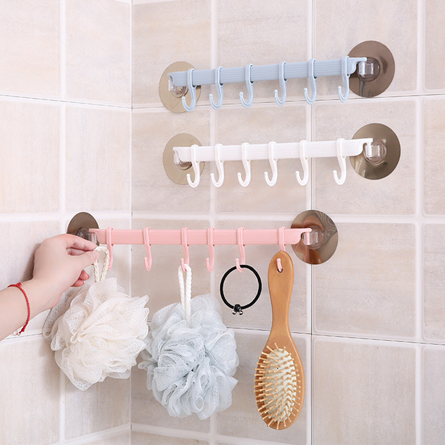 Wall Mount Six-hook Seamless Nail-free Clothes Hook Viscose Hook For Kitchen And Bathroom Home Essential
