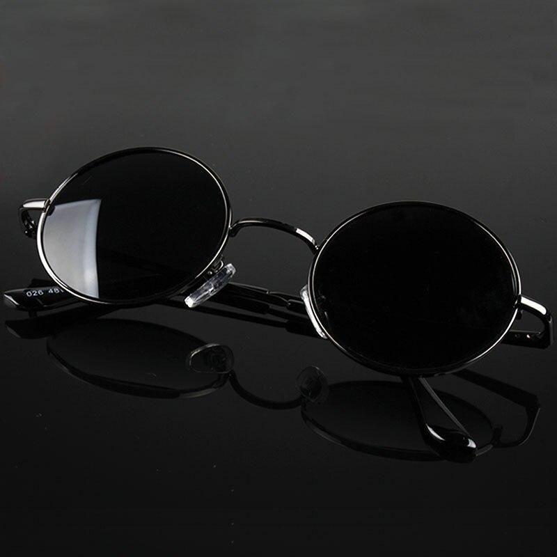 Retro klasyczny vintage okrągłe spolaryzowane okulary mężczyźni marka projektant okulary kobiety metalowa rama czarne szkła okulary jazdy