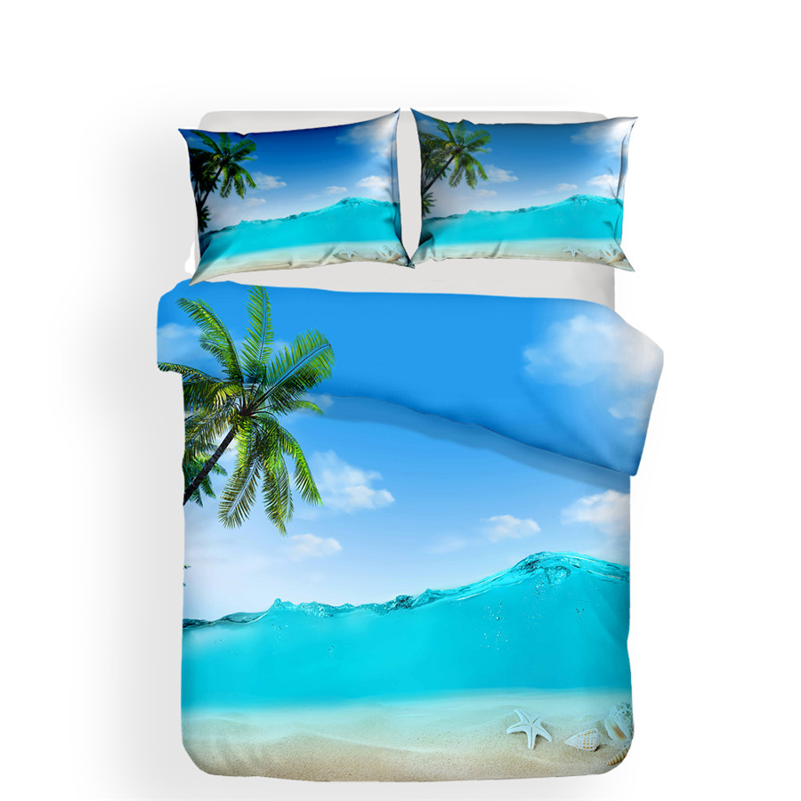 Image 2 - Bedding Set 3D Printed Duvet Cover Bed Set Beach Coconut Tree Home Textiles for Adults Bedclothes with Pillowcase #HL20-in Bedding Sets from Home & Garden