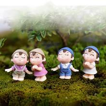 2 шт мальчик девочка дети пара миниатюрный орнамент ремесло DIY пейзаж кукольный домик Декор Двор и сад Декор