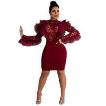 Ruffle Sheer Lace Patchwork  Perspective Knee-Length Bodycon Dress O Neck Long Sleeve Empire Sheath Mini Female Club Outfit