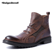 New Recommand ! Chelsea Boots Men Genuine Leather Pleated Retro Shoes Man Winter MUST HAVE!