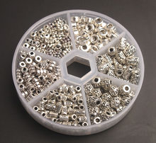 Bir Kutu 340 ADET Antiqued Gümüş metal boru halka boncuk Takı Yapımı için