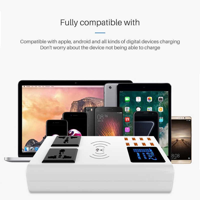 8 Port Qi Wireless Pengisi Cepat Cepat Stasiun Pengisian LED Display Ponsel Dinding USB Charger untuk iPhone 6 7 8 7plus X Xiaomi