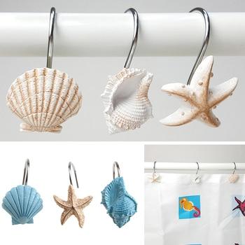12pcs Resin Decorative Seashell Starfish Shower Curtain Hooks Hanger Rails Home Hotel Bathroom Beach Shell Decor Hook Organizer